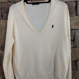 Polo Ralph Lauren cream colored v-neck sweater